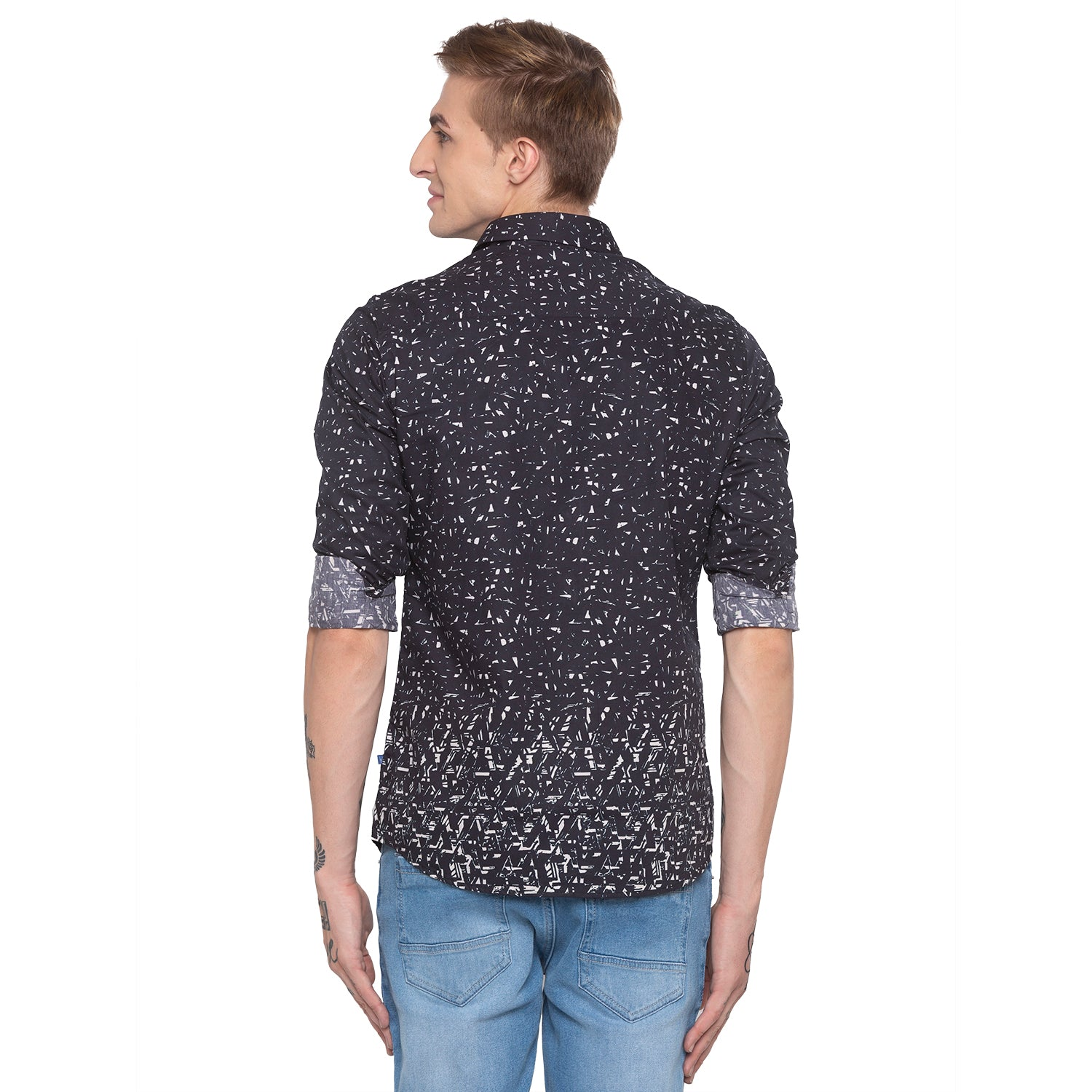 Abstract Print Black Shirt-3
