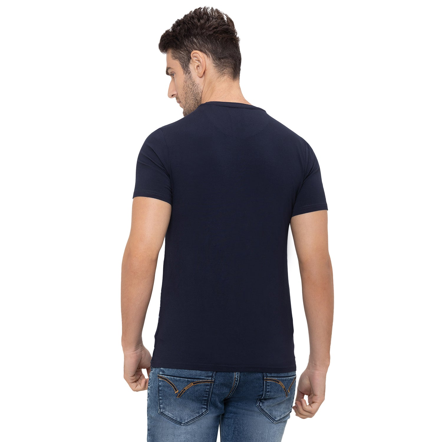 Globus Navy Blue Printed T-Shirt-3