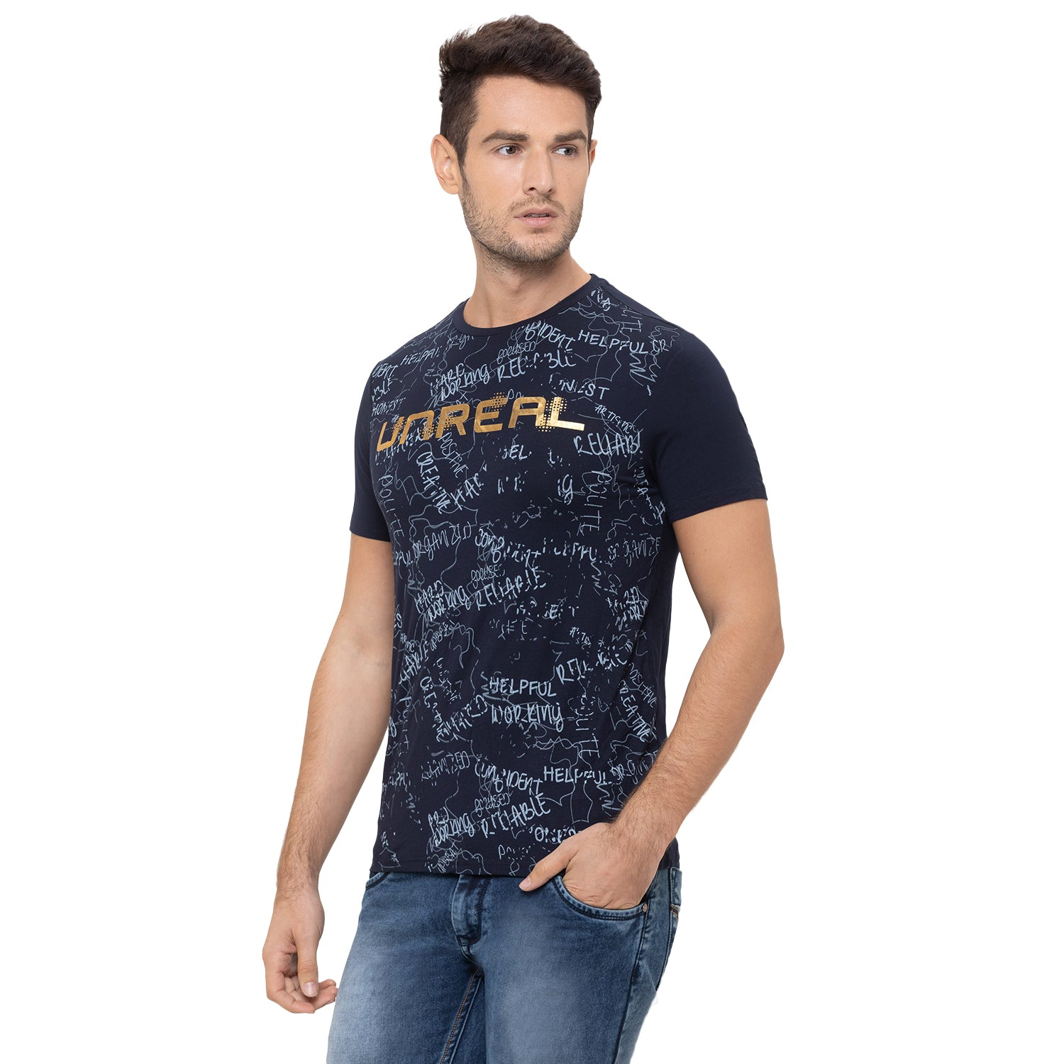 Globus Navy Blue Printed T-Shirt-4