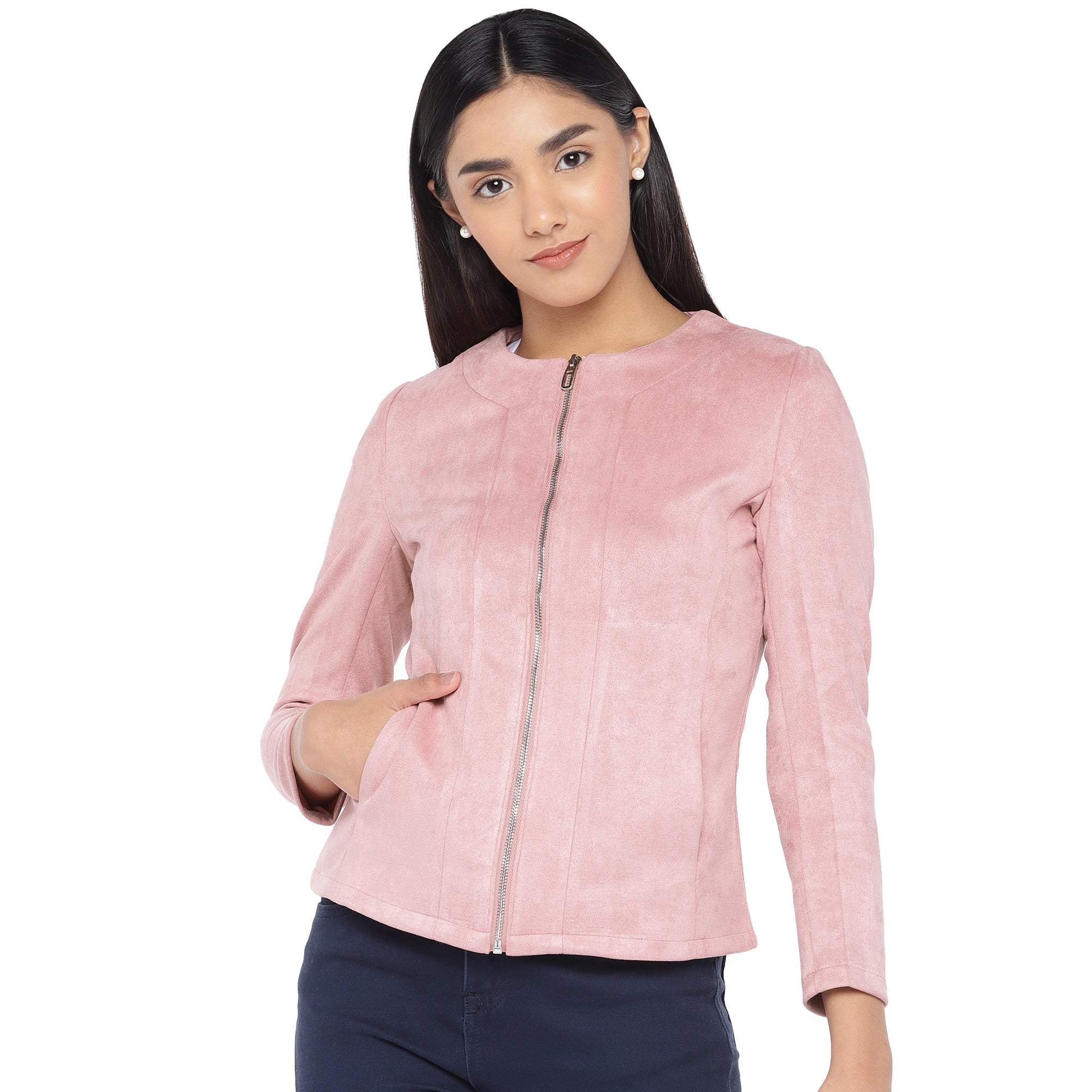 Pink Solid Tailored Jacket-1