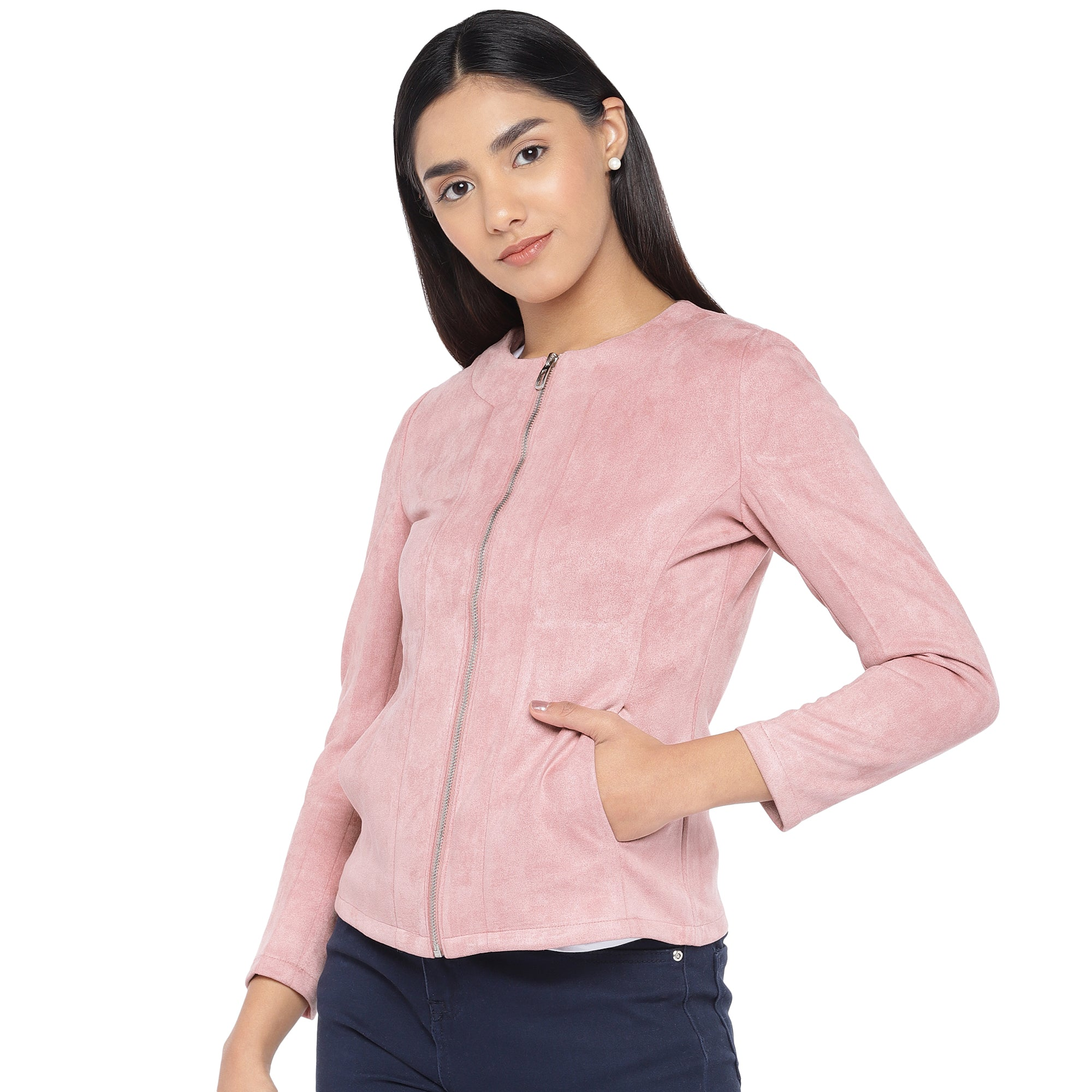 Pink Solid Tailored Jacket-2