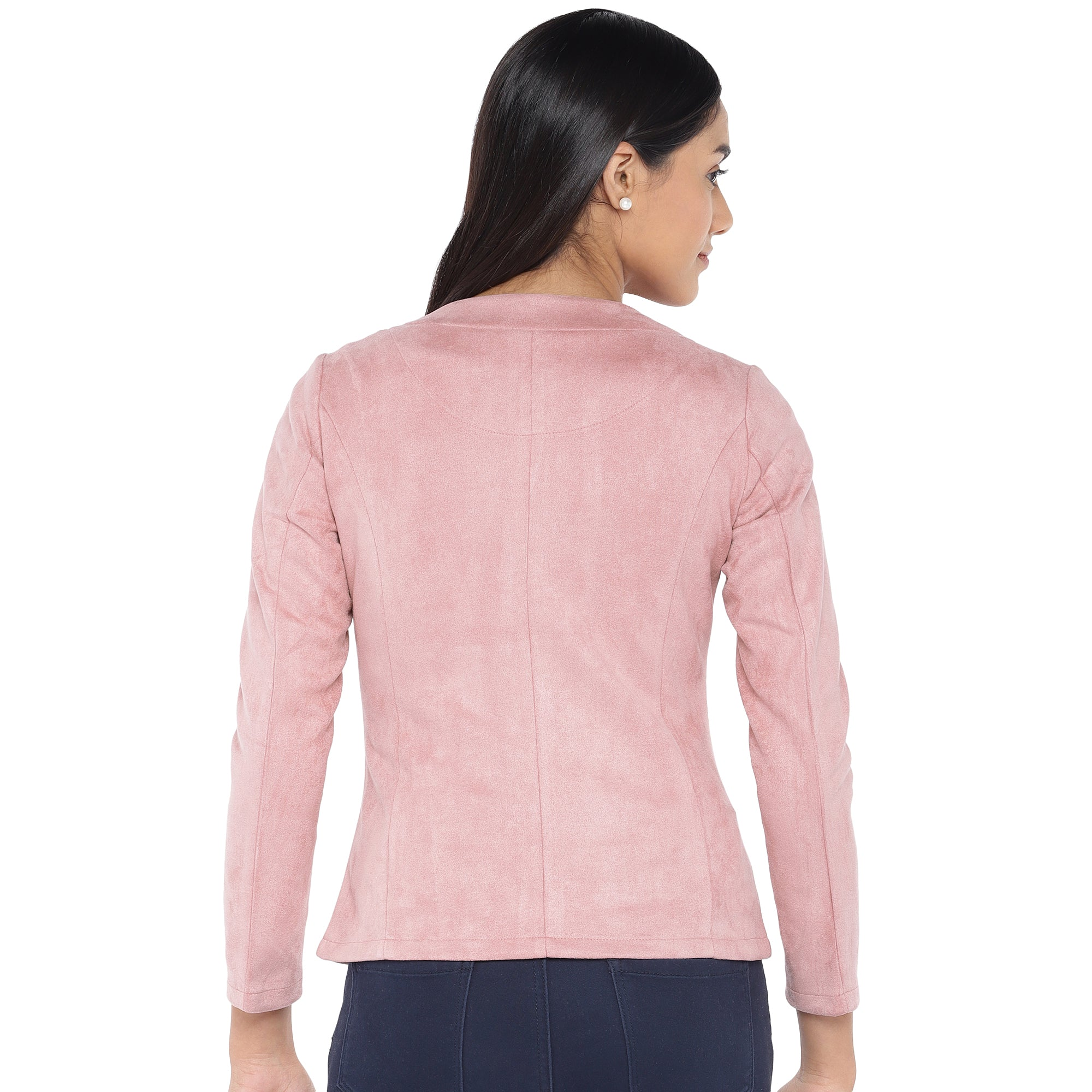 Pink Solid Tailored Jacket-3