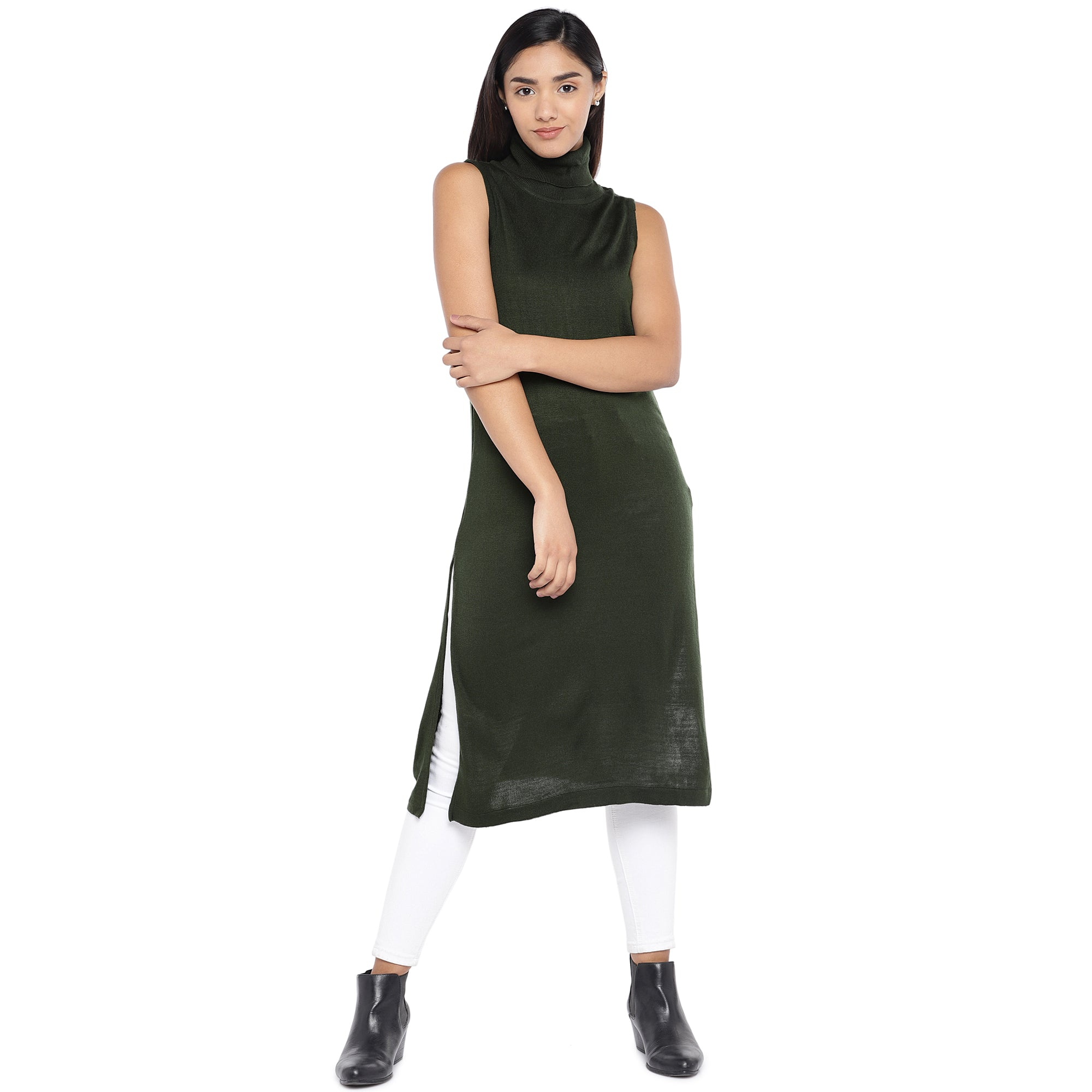 Olive Green Turtle Neck Tunic-1