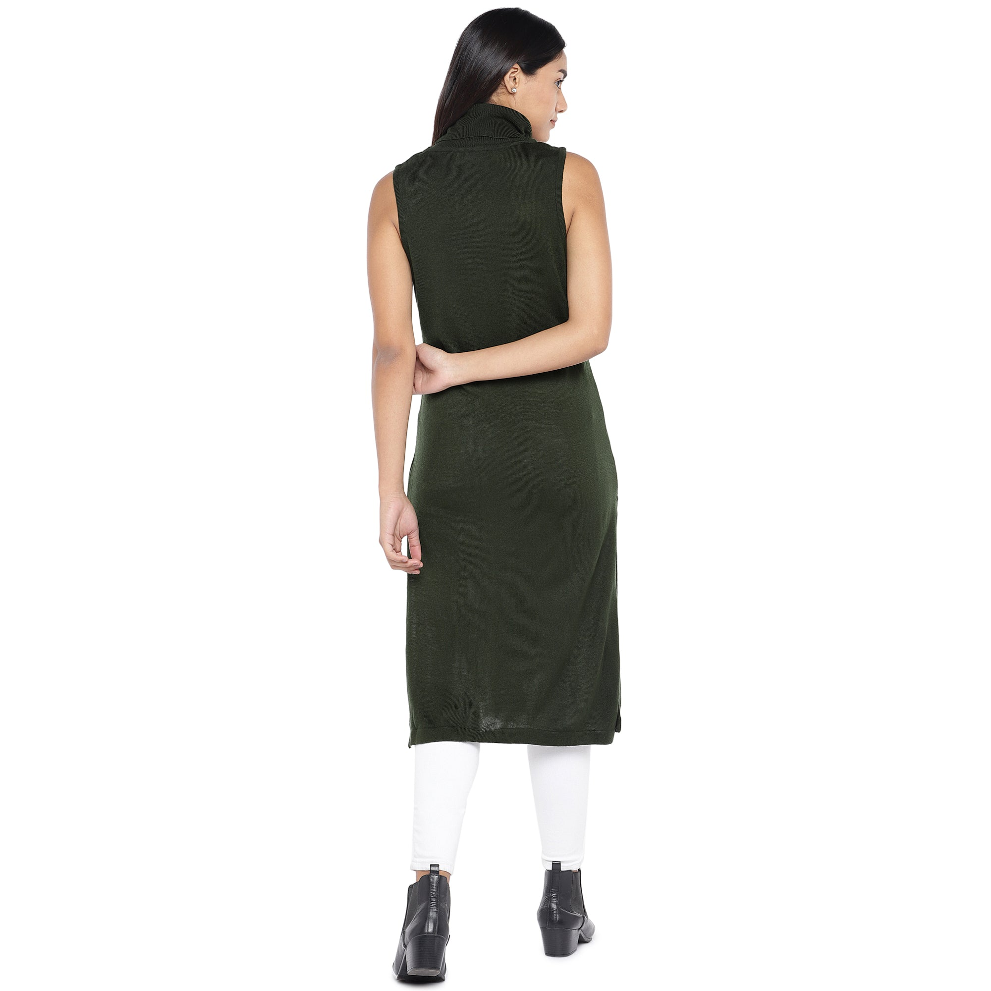 Olive Green Turtle Neck Tunic-3