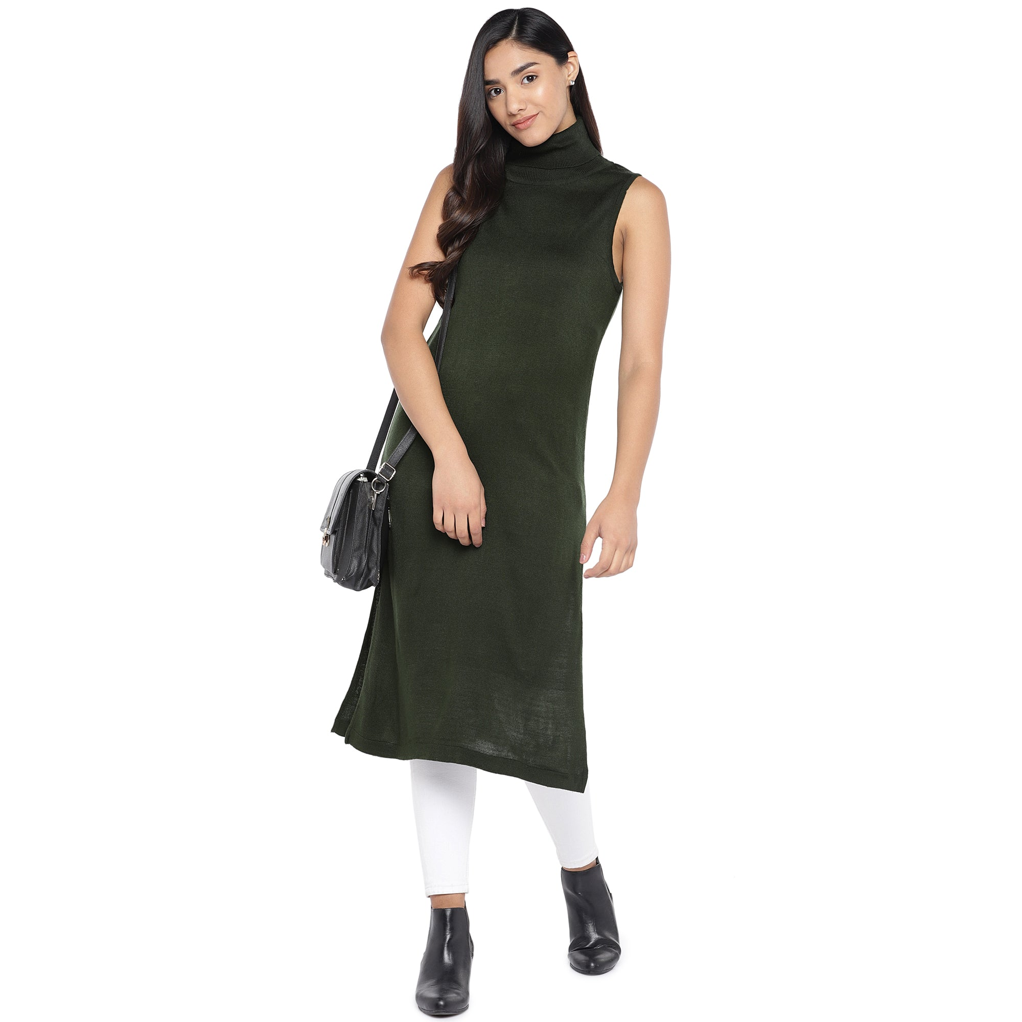 Olive Green Turtle Neck Tunic-4