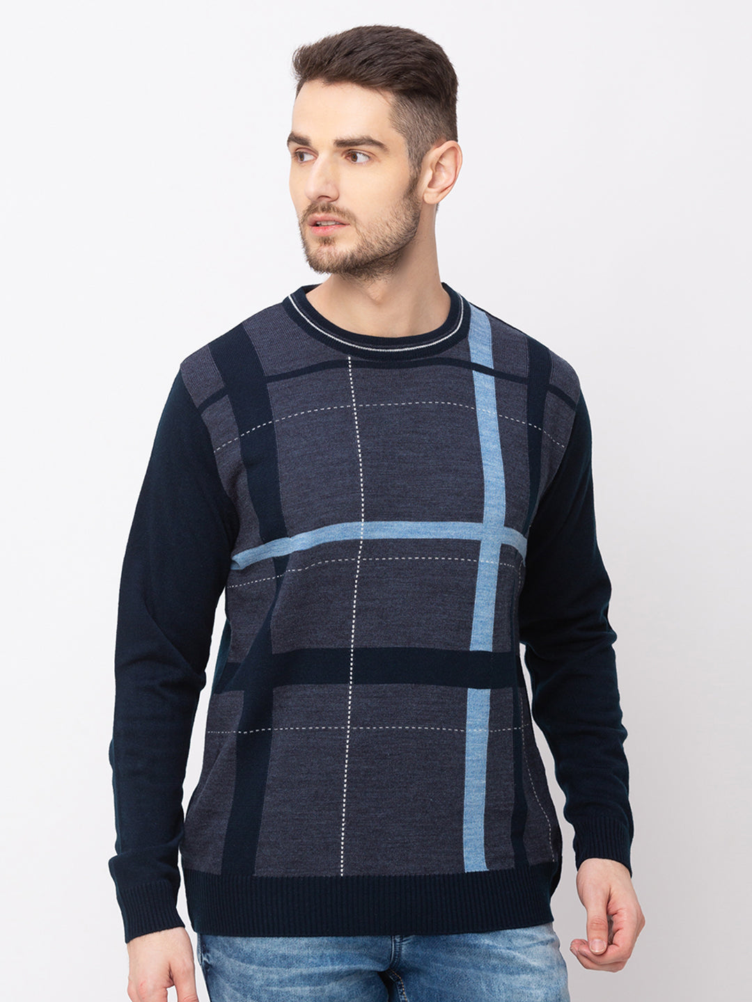 Globus Navy Blue Checked Pullover Sweater-1