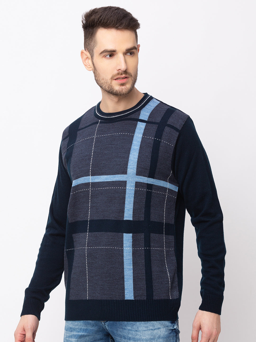 Globus Navy Blue Checked Pullover Sweater-2