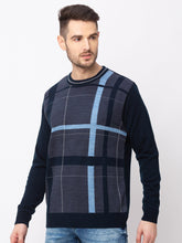 Load image into Gallery viewer, Globus Navy Blue Checked Pullover Sweater-2