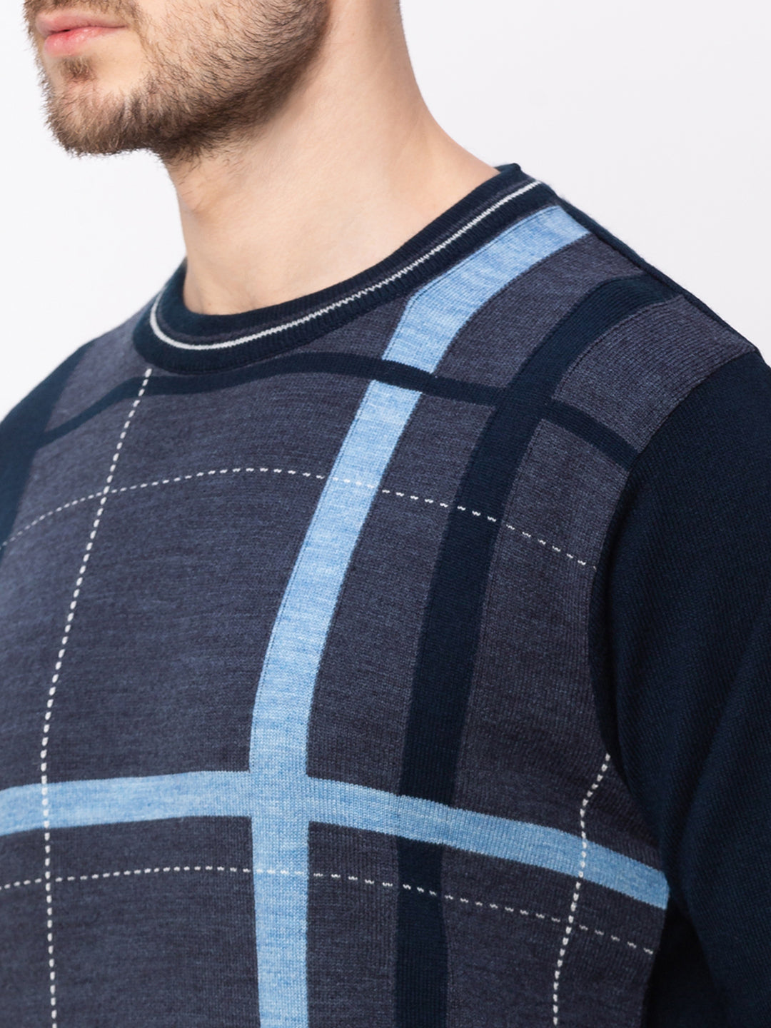 Globus Navy Blue Checked Pullover Sweater-4