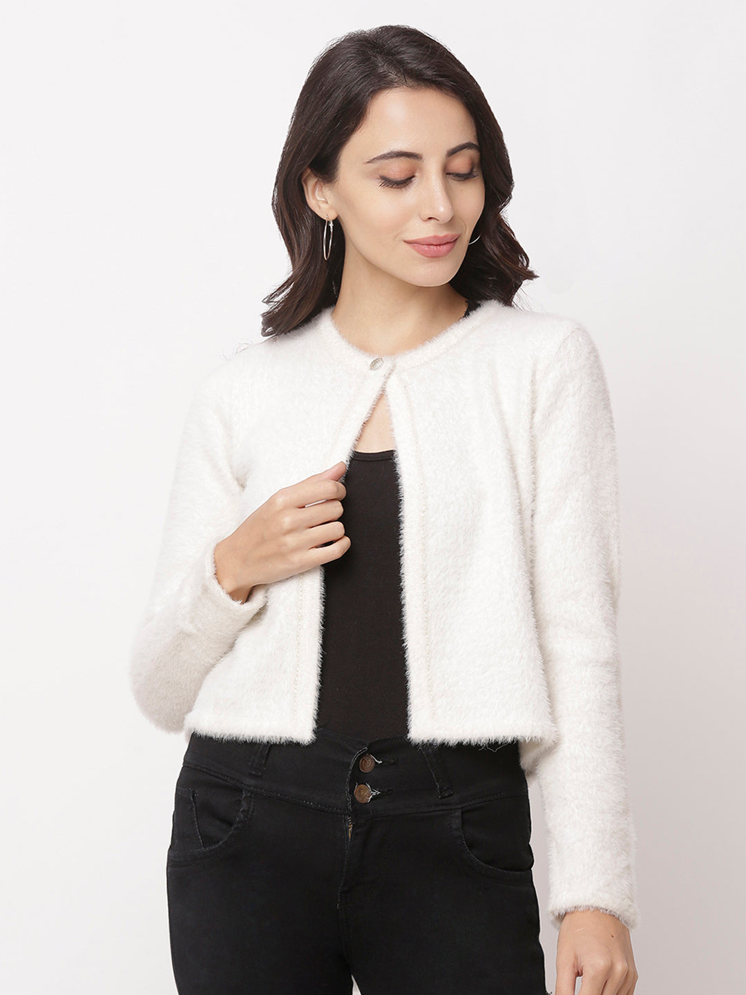 Globus Off White Solid Cardigan-1
