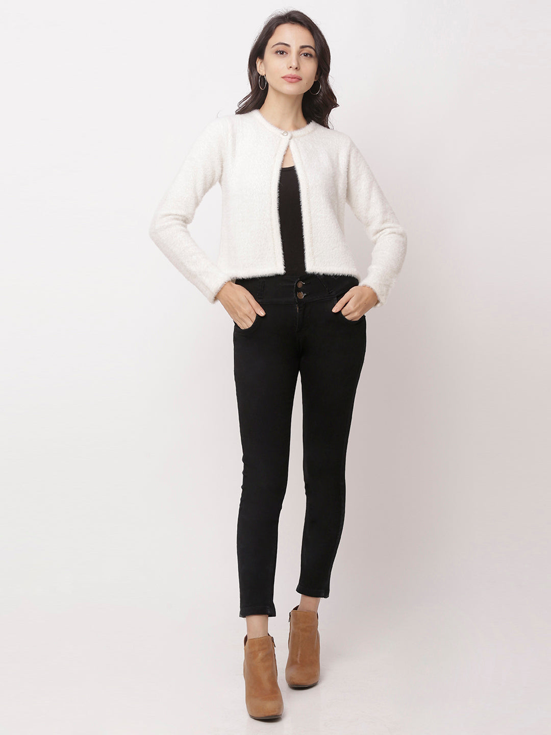 Globus Off White Solid Cardigan-2