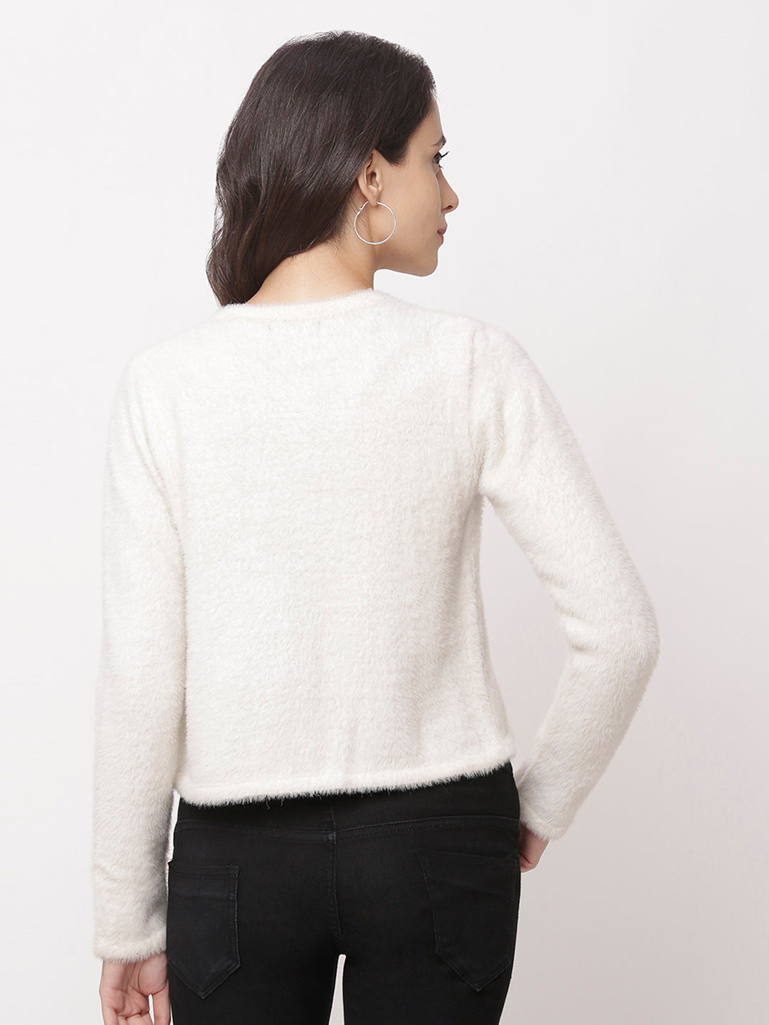 Globus Off White Solid Cardigan-3