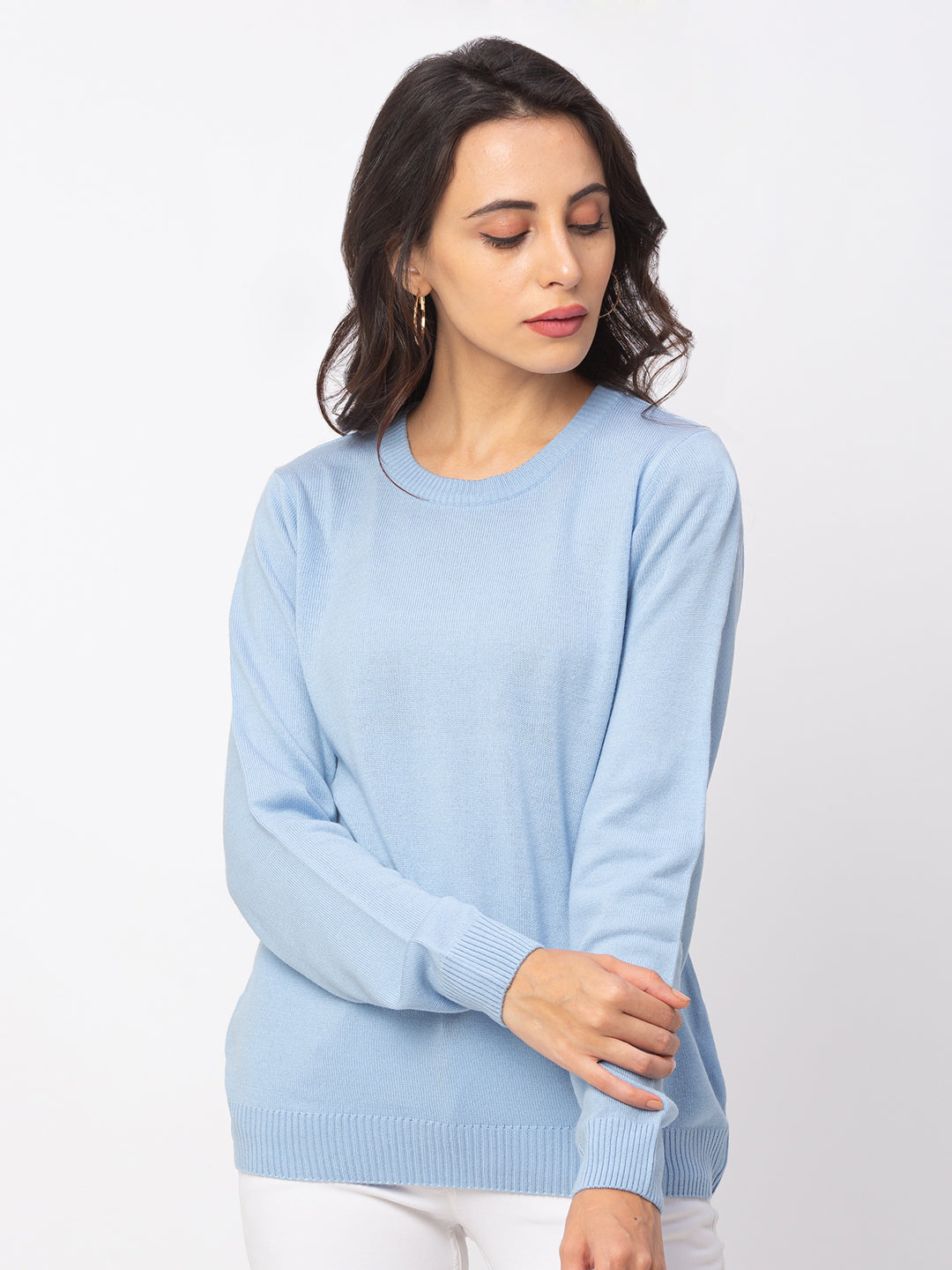 Globus Sky Blue Solid Sweater-1