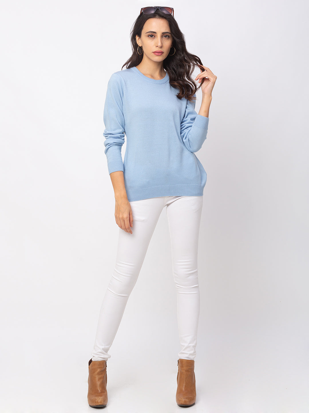 Globus Sky Blue Solid Sweater