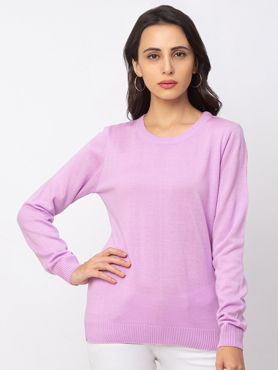 Globus Lilac Solid Sweater-1