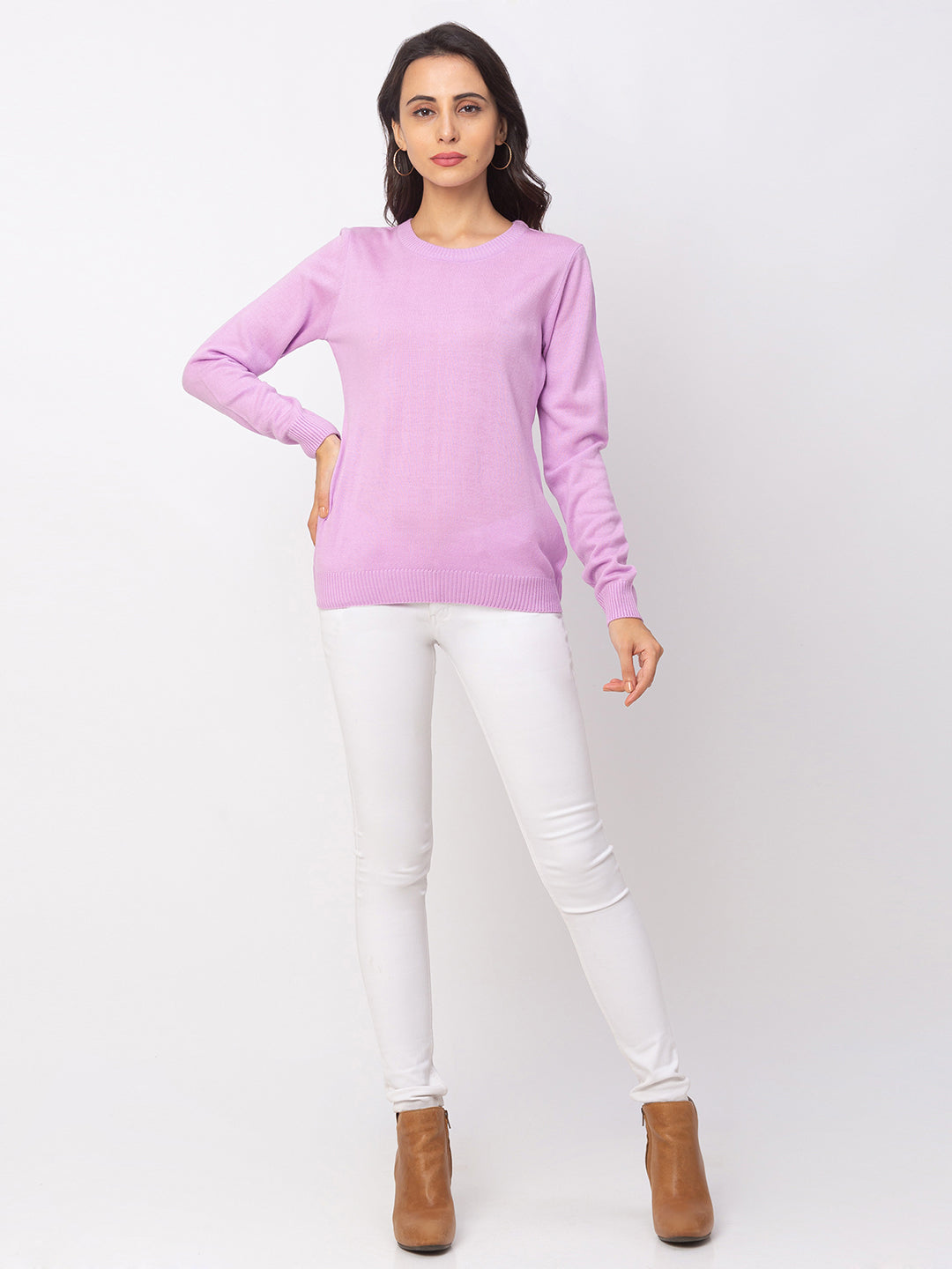 Globus Lilac Solid Sweater-5