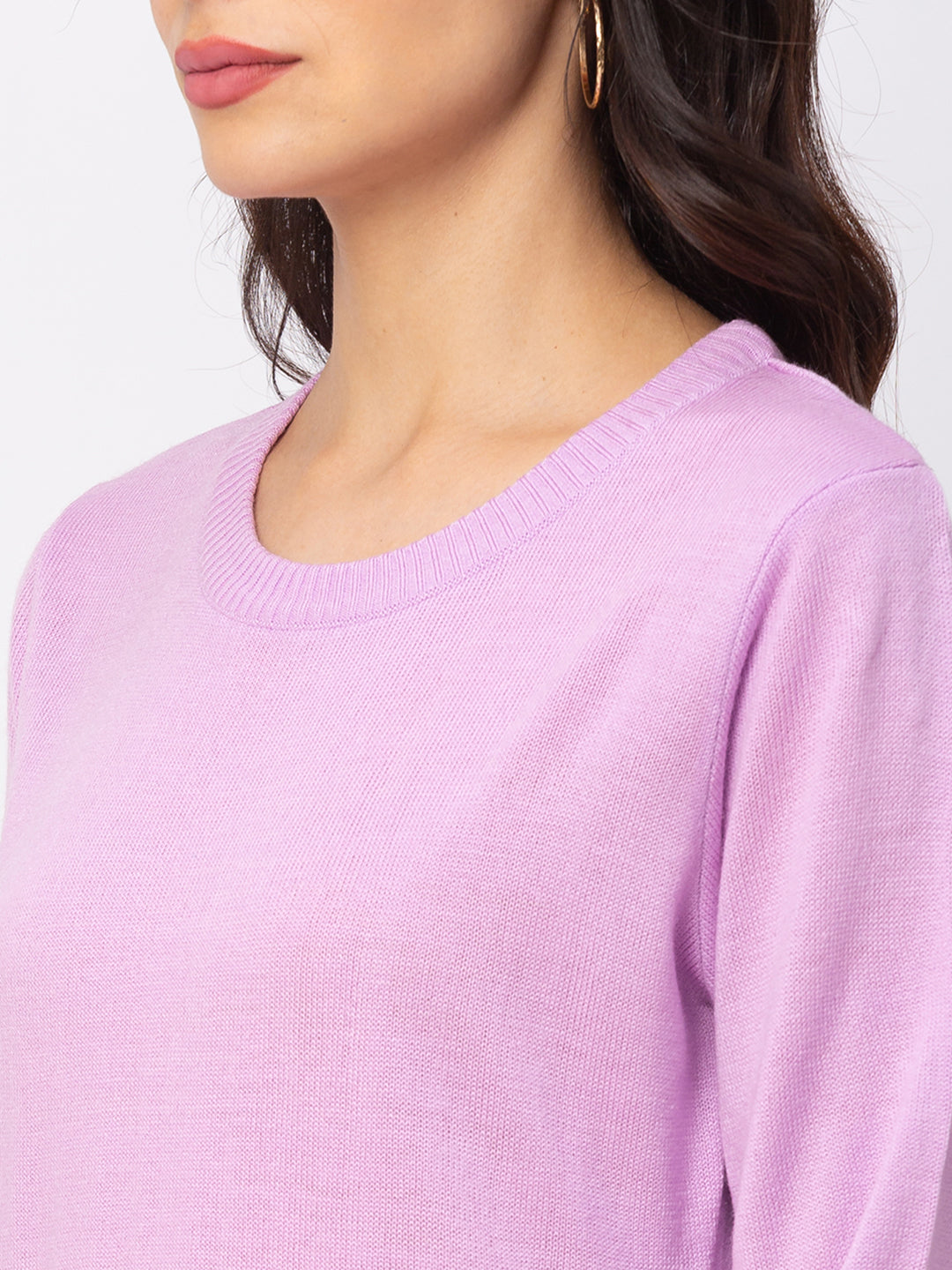 Globus Lilac Solid Sweater-4