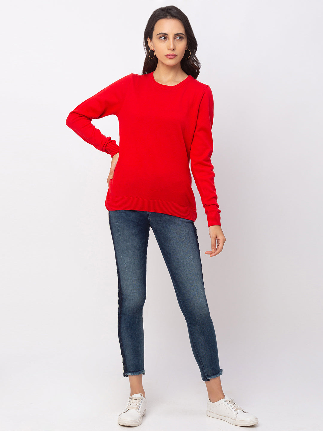 Globus Red Solid Sweater-5