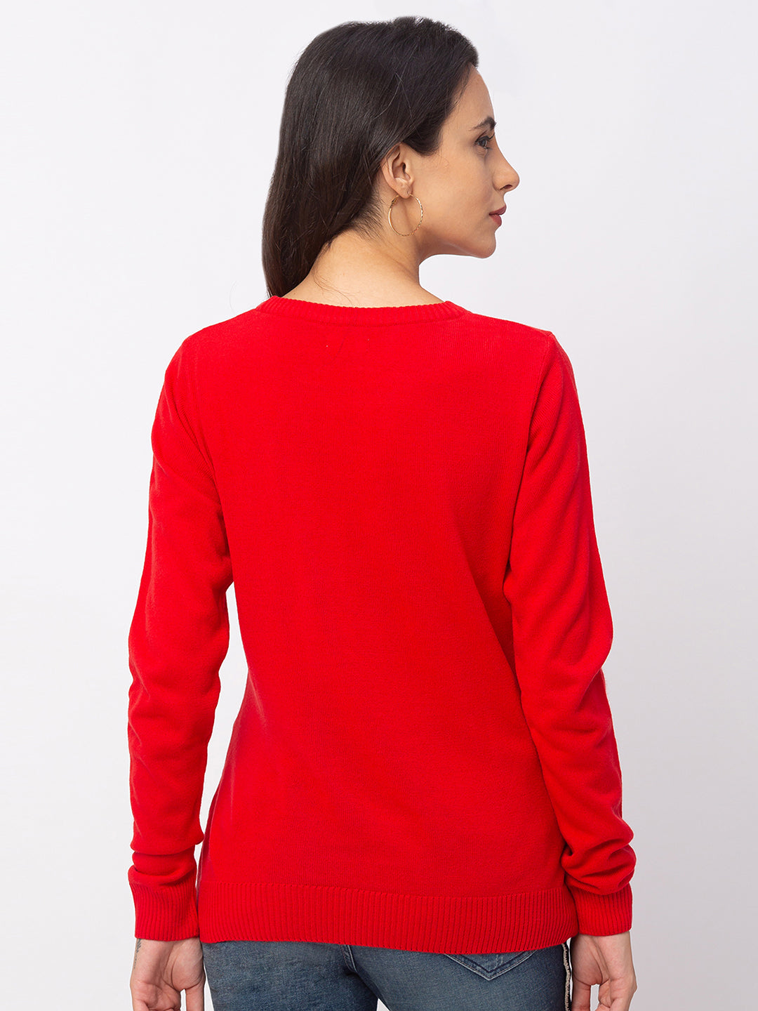 Globus Red Solid Sweater-3