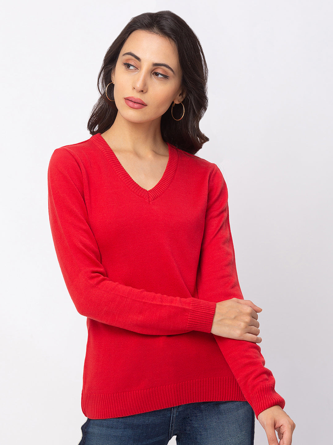 Globus Red Solid Sweater-1