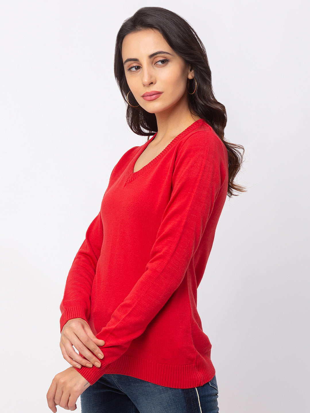 Globus Red Solid Sweater-2