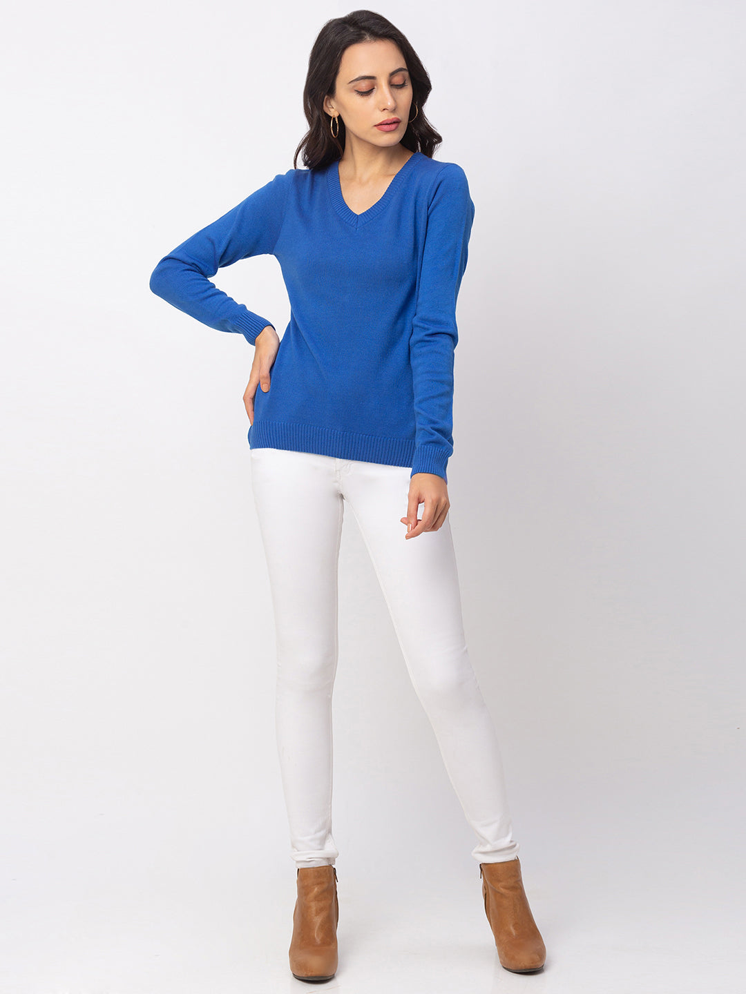 Globus Blue Solid Sweater-5