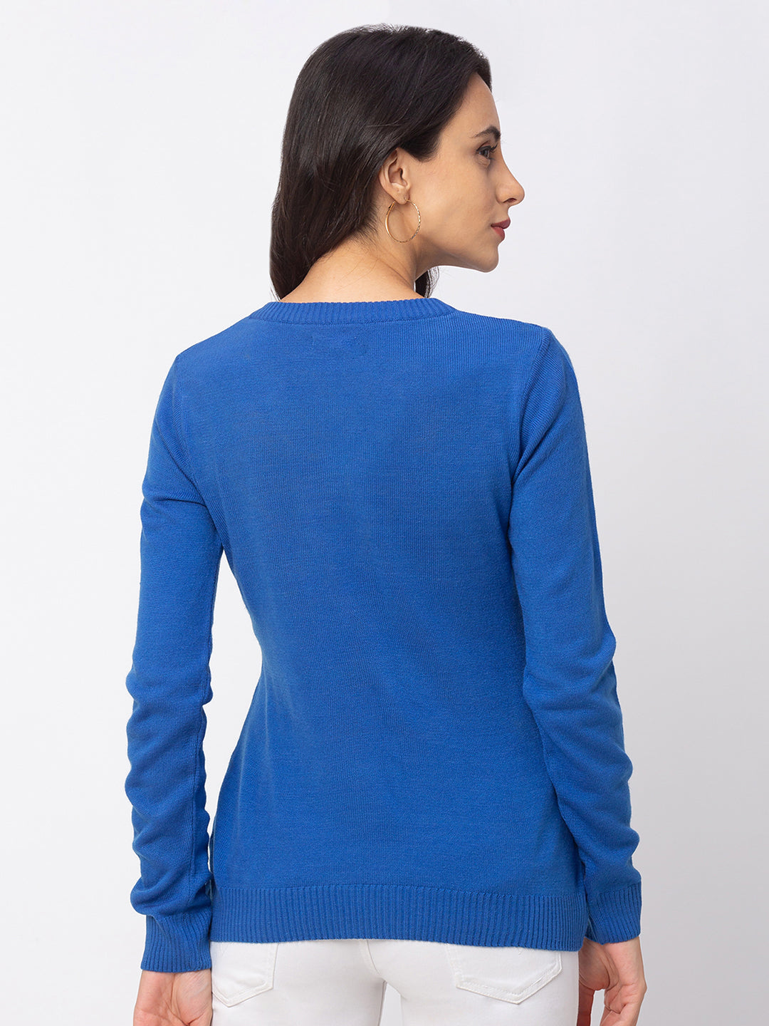 Globus Blue Solid Sweater-3