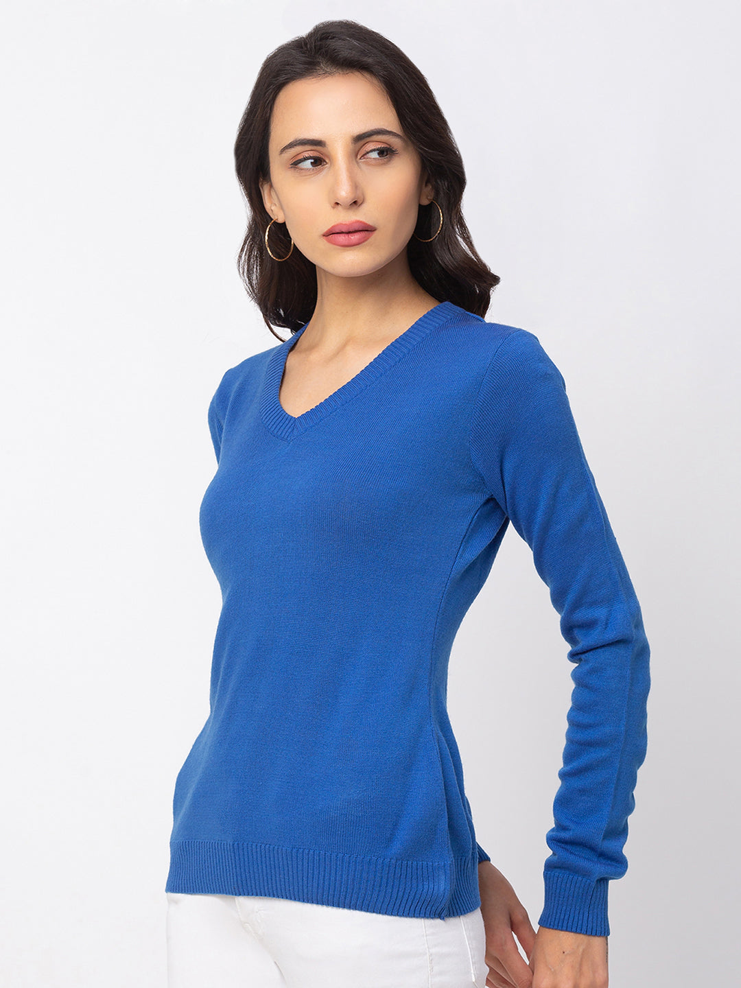 Globus Blue Solid Sweater-2