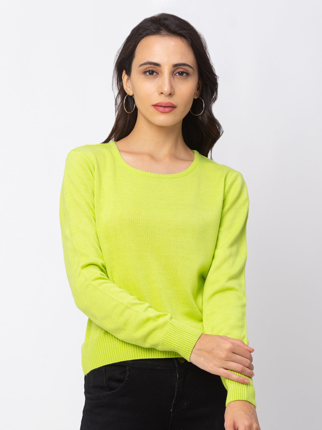 Globus Lime Green Solid Sweater-1