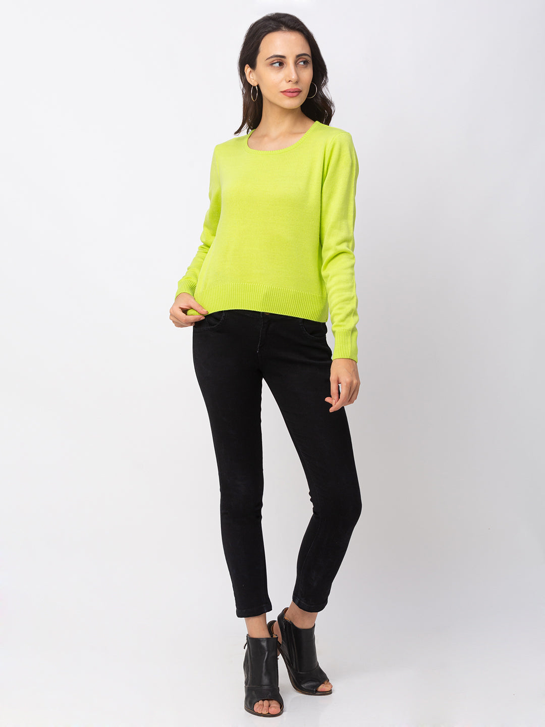 Globus Lime Solid Sweater-2