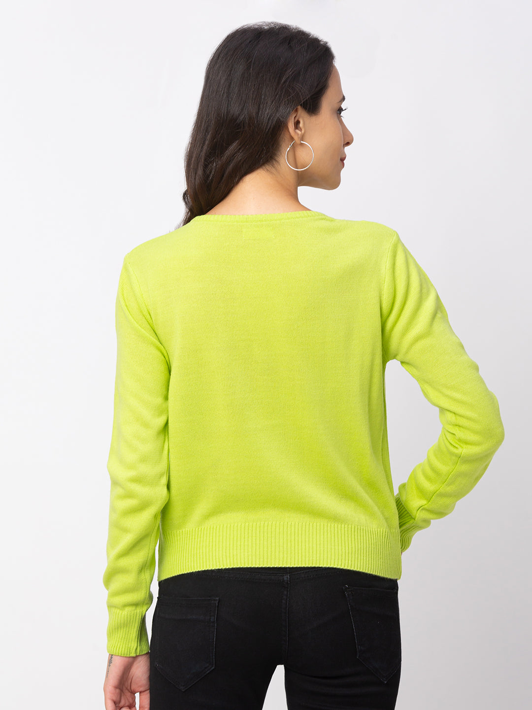 Globus Lime Solid Sweater-3