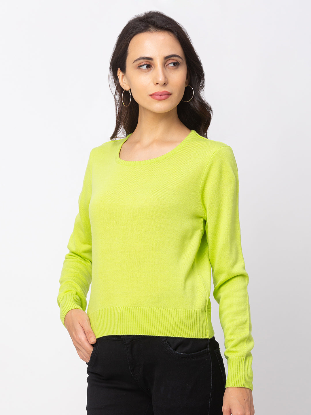 Globus Lime Solid Sweater-4