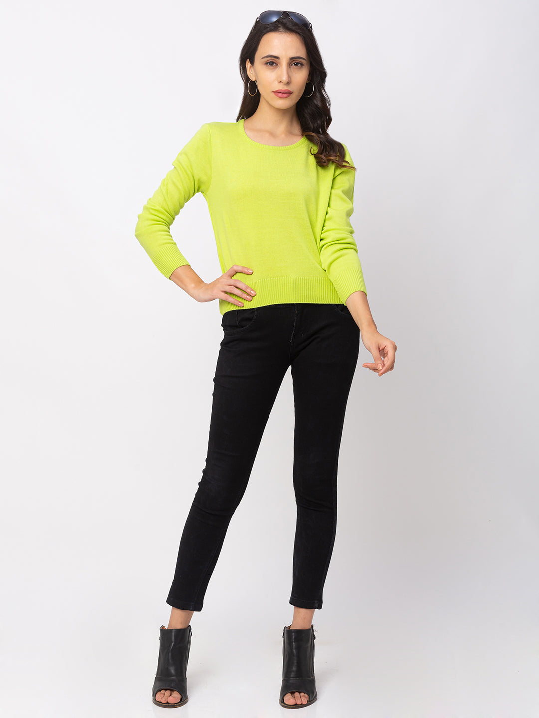 Globus Lime Green Solid Sweater