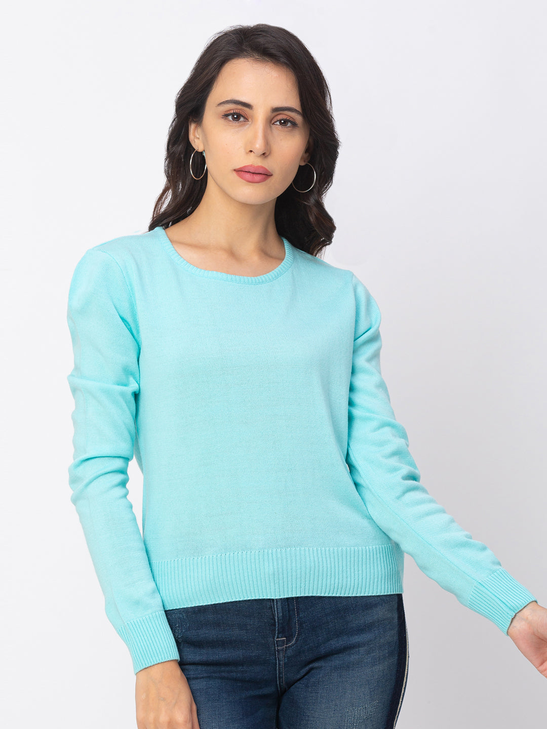 Globus Blue Solid Sweater-1