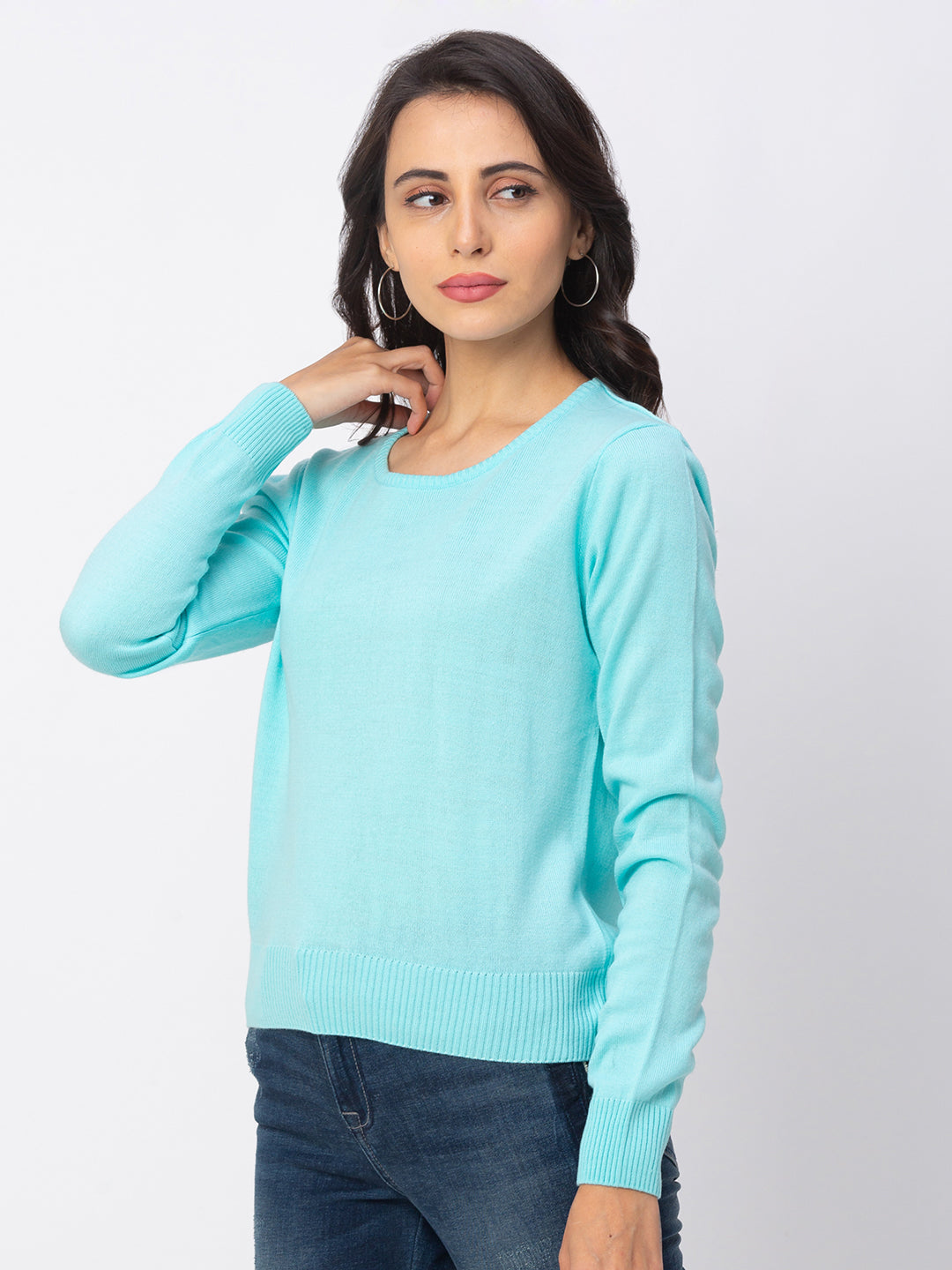 Globus Blue Solid Sweater-4