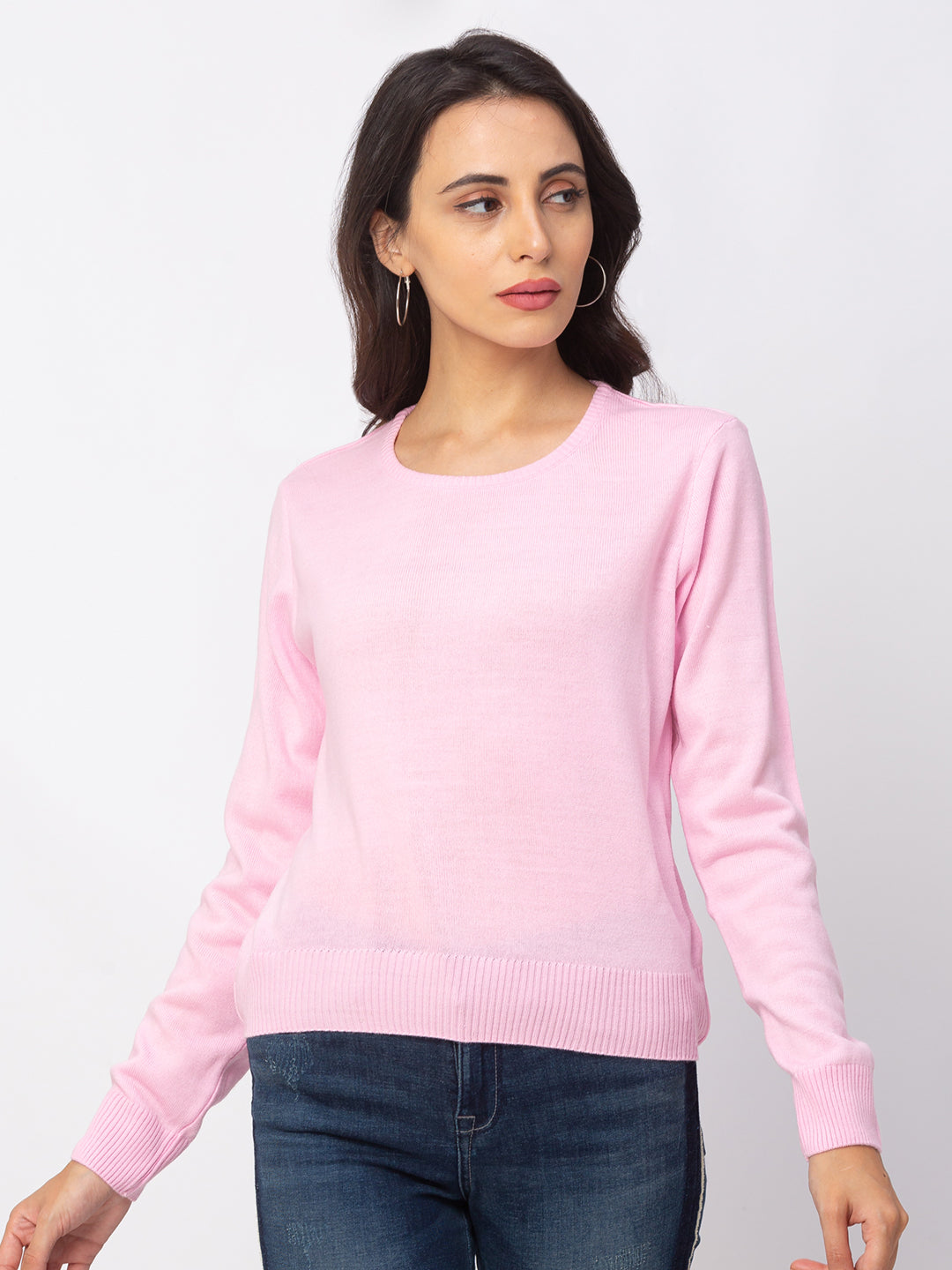 Globus Pink Solid Sweater-1