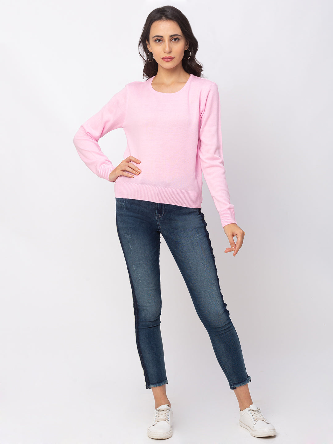 Globus Pink Solid Sweater-2
