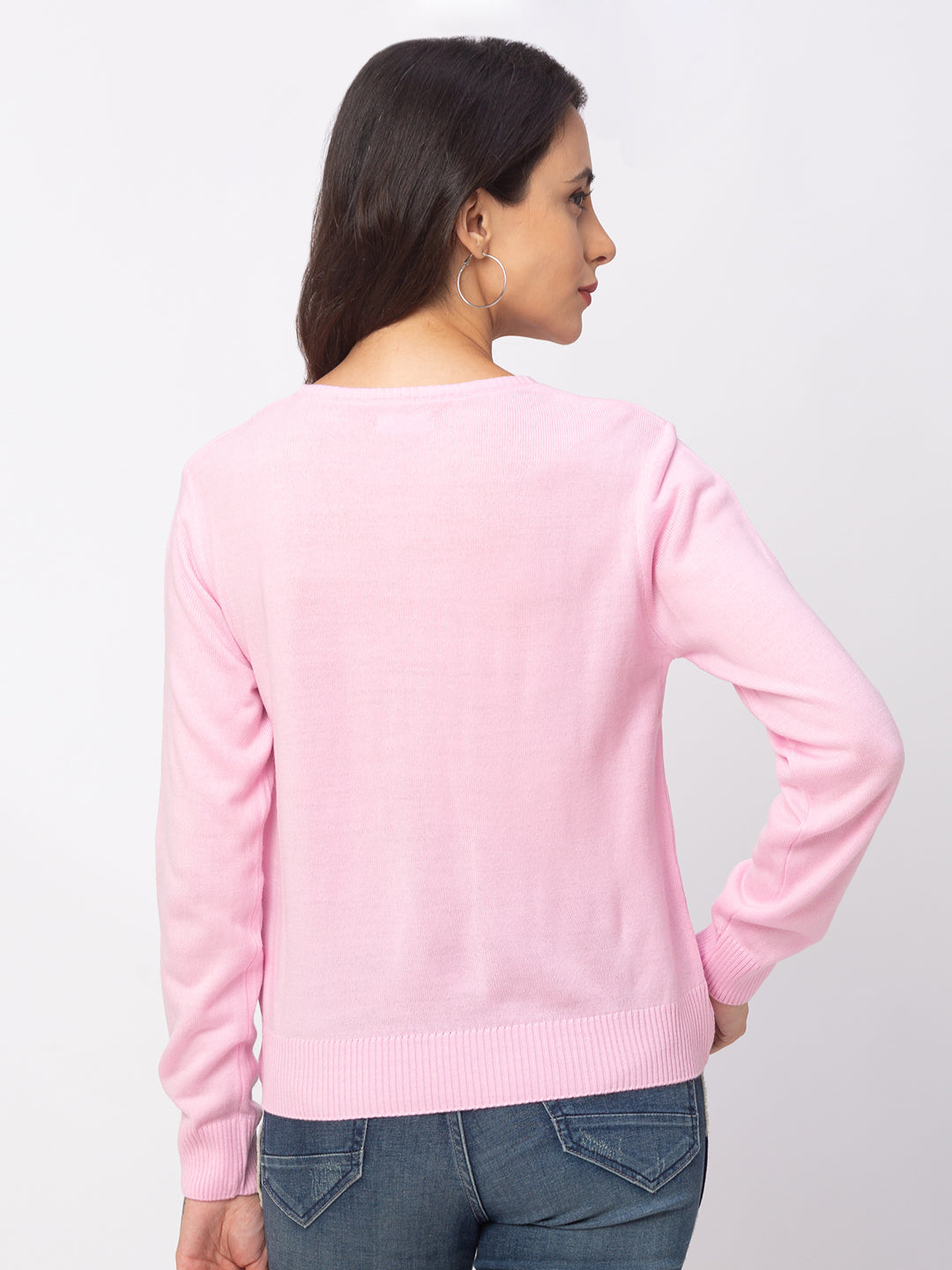 Globus Pink Solid Sweater-3