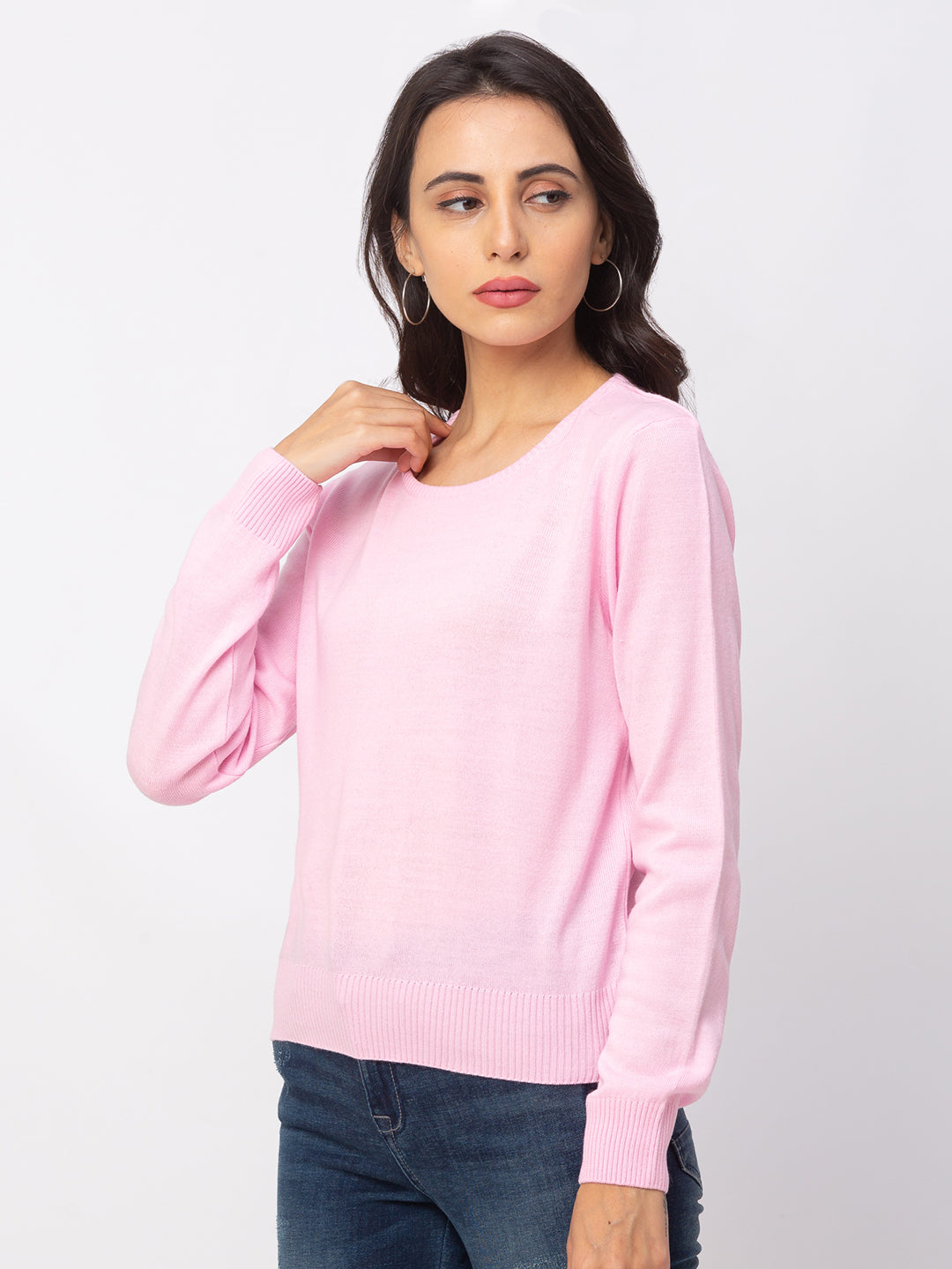 Globus Pink Solid Sweater-4