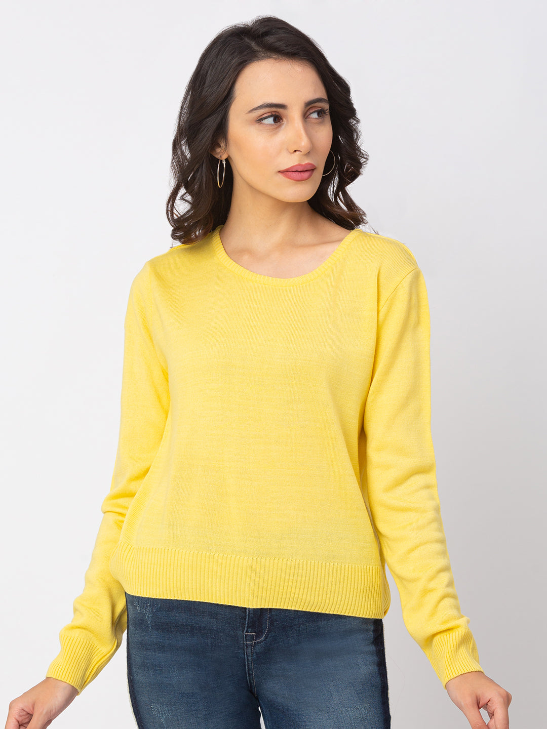 Globus Lemon Yellow Solid Sweater-1