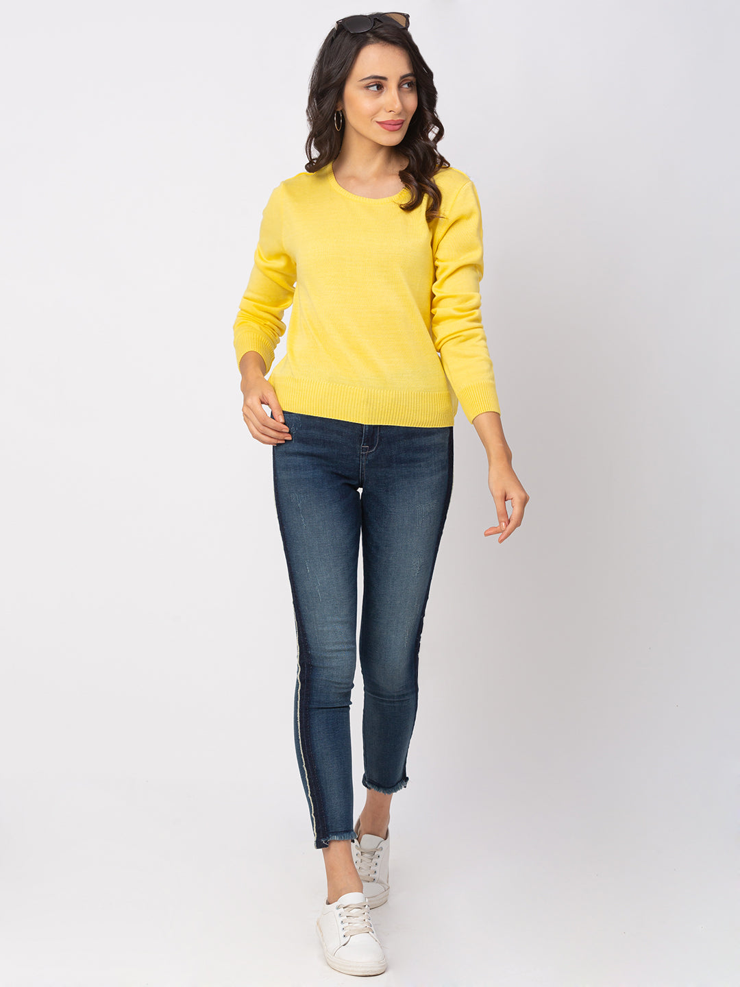 Globus Lemon Yellow Solid Sweater