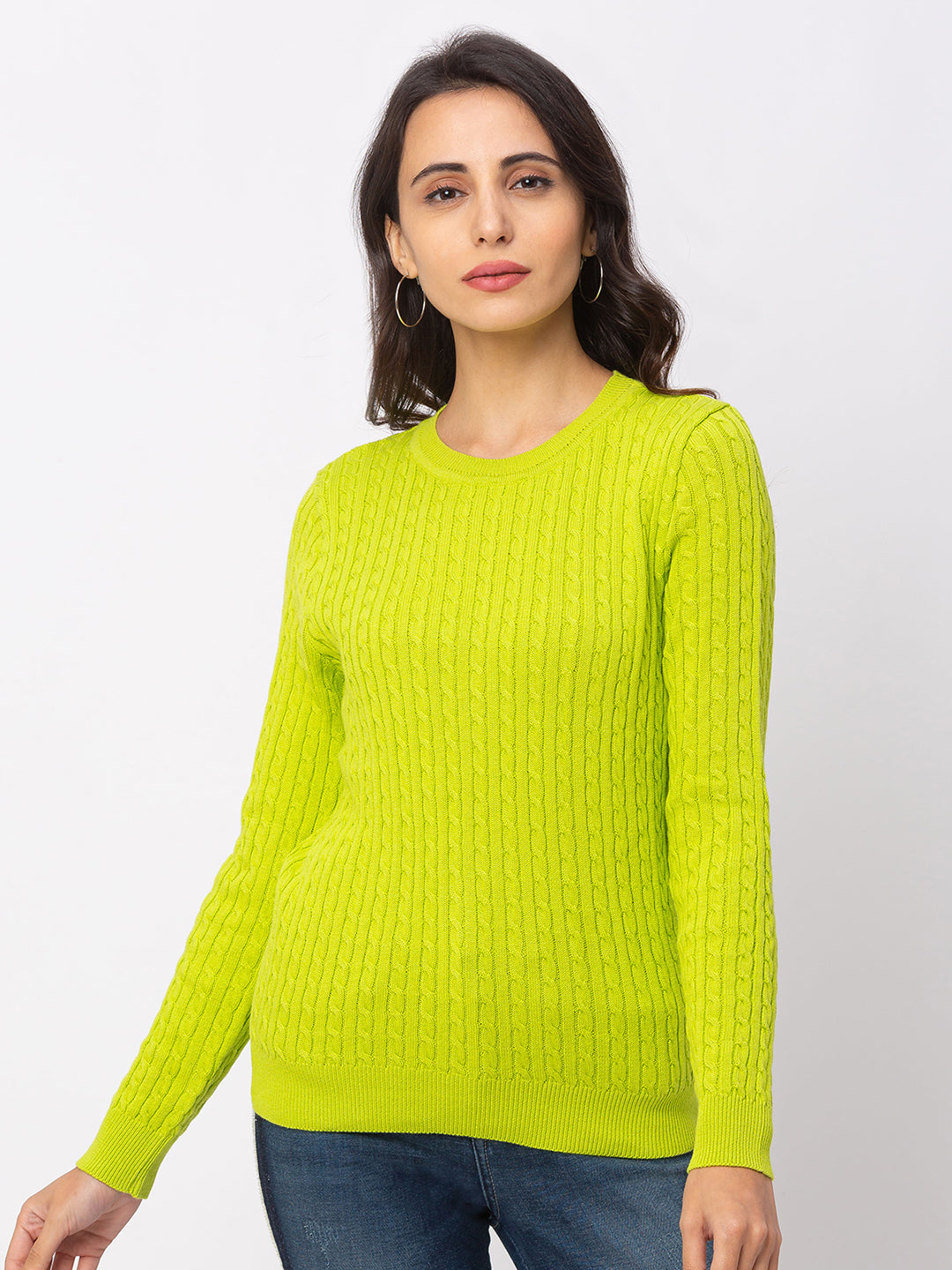 Globus Lime Textured Sweater-1