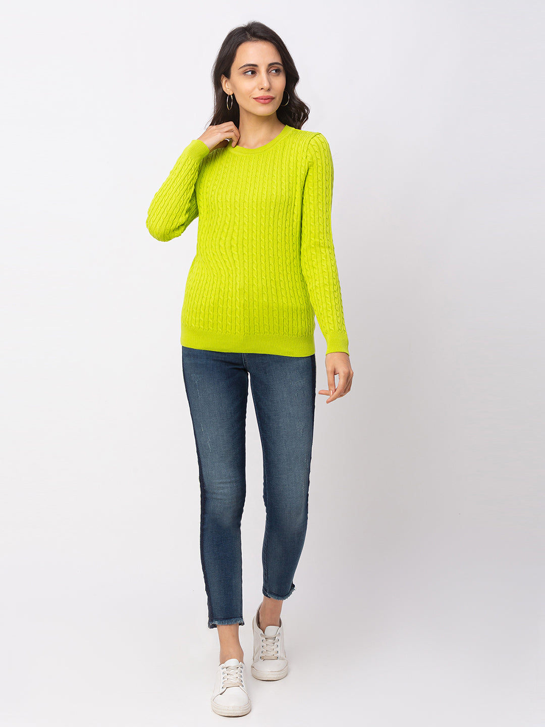 Globus Lime Textured Sweater-2