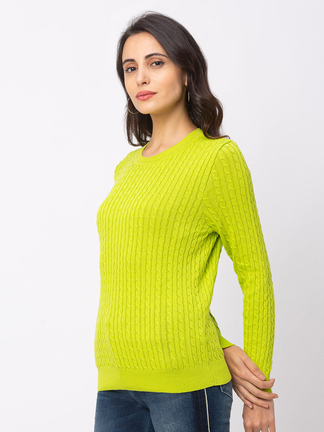 Globus Lime Textured Sweater-4