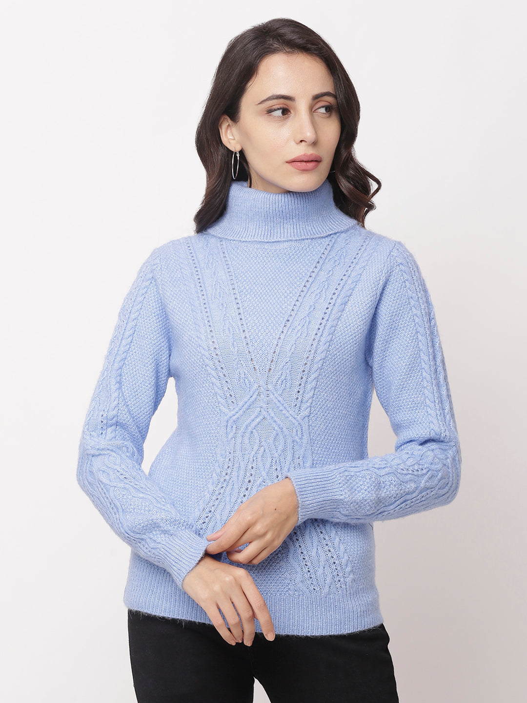 Globus Blue  High Neck Self Design Sweatshirt-1