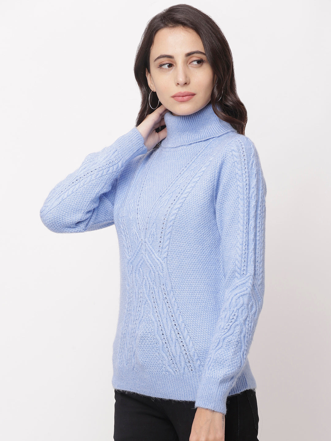 Globus Blue  High Neck Self Design Sweatshirt-2