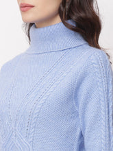 Load image into Gallery viewer, Globus Blue  High Neck Self Design Sweatshirt-4