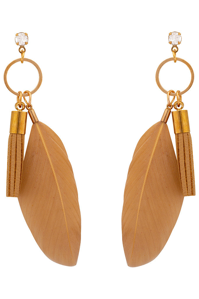 Feather Dangling Stud Earrings-1