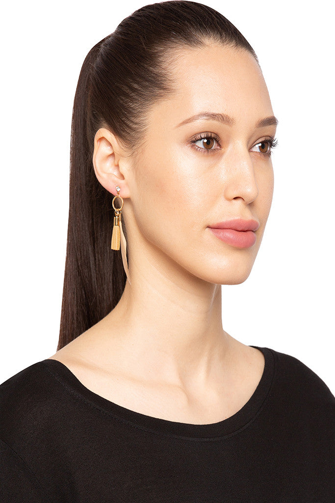 Feather Dangling Stud Earrings-3