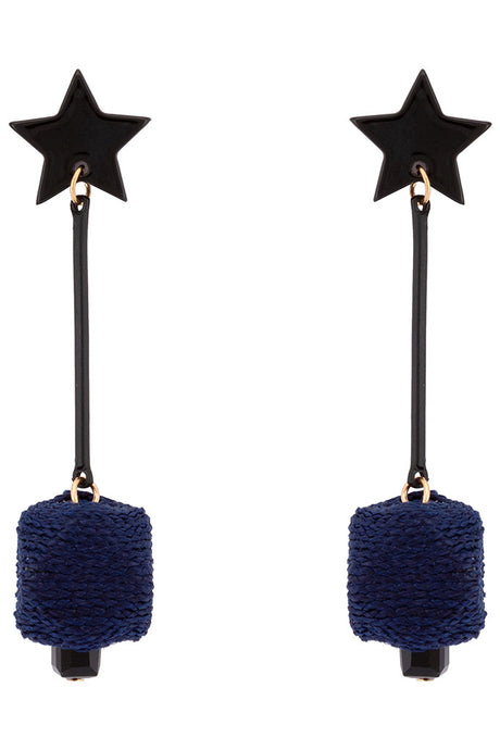 Star Motif Long Earrings-1